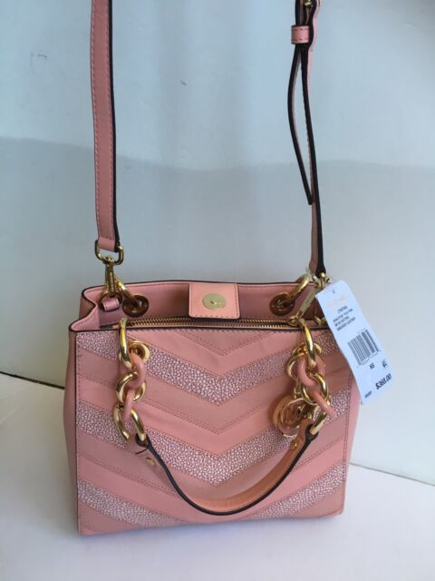 5aa8dd810e63 NWT Michael Kors Cynthia NorthSouth Satchel Pale Pink/Gold Embossed Leather  368$