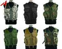 Outdoor Tactical Military Airsoft Paintball Combat Vest With Pistol Gun Holster