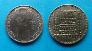 Piece-de-10-Frs-TURIN-1934-en-etain-Vraie-fausse-piece-d-epoque