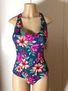 e46b19456b7 Tori Praver Seafoam Lace-Up One Piece Floral Women's Swimsuit Size L ...