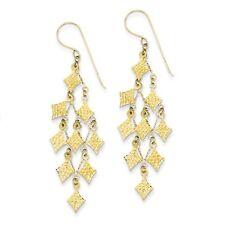 14k Yellow Gold D/C Chandelier Shepherds Hook Dangle Earrings (2.3IN x 0.7IN)