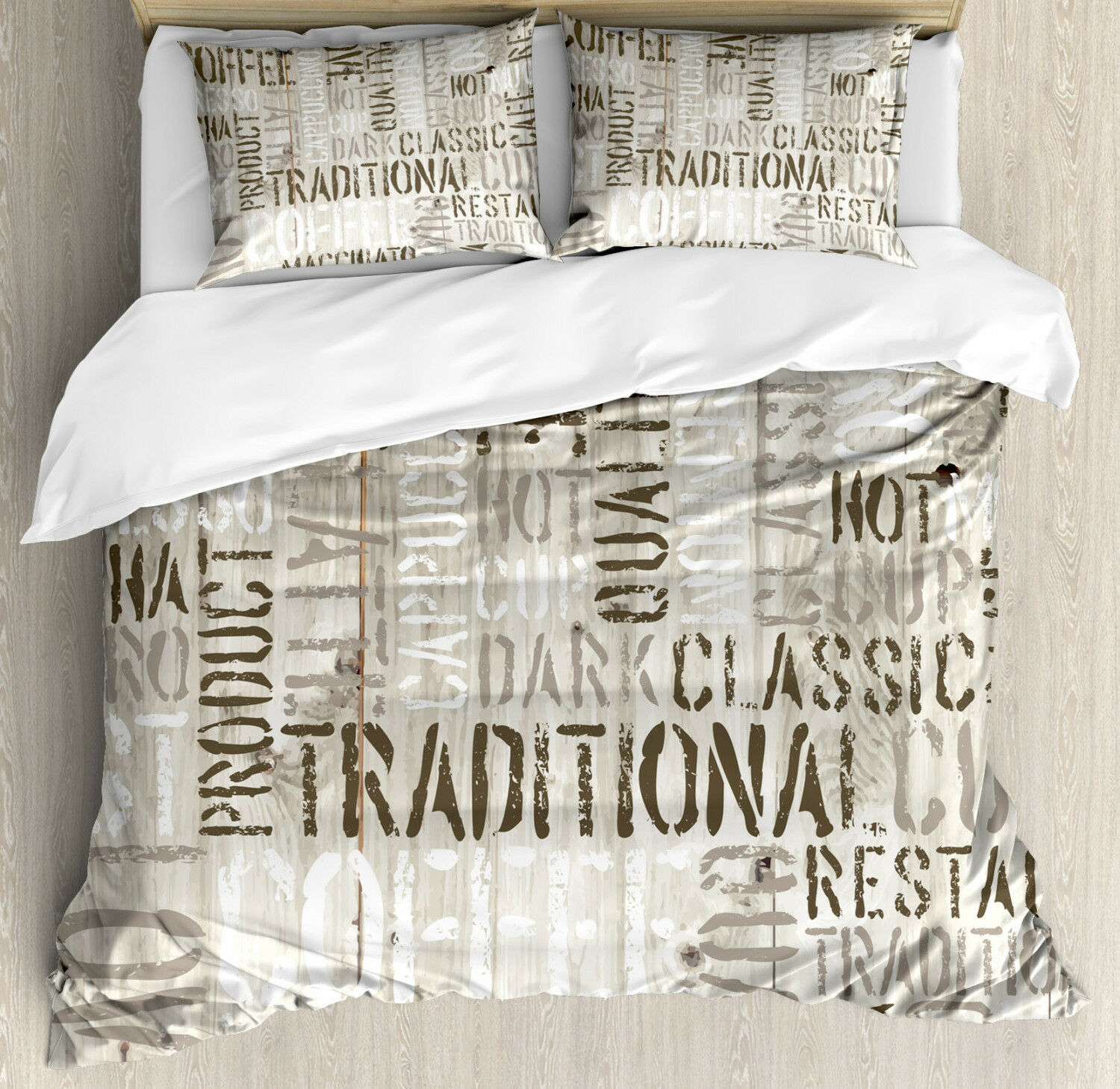 Wooden Duvet Cover Set with Pillow Shams Coffee Phrase Espresso Print