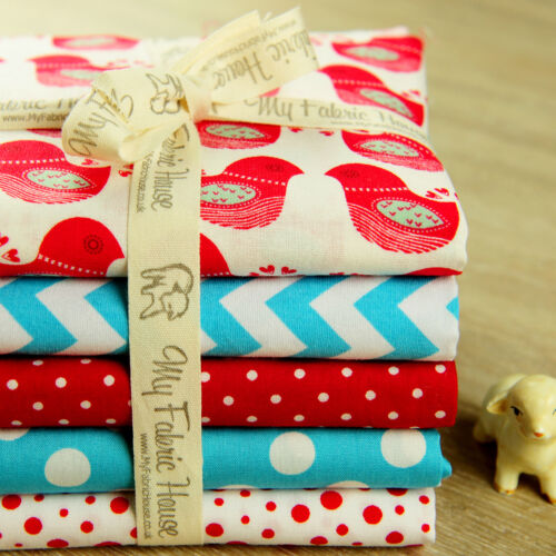 5FQs Christmas Cotton FabricRed BlueFat Quarters BundleNordic Bird Sew