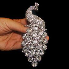 Bridal Peacock Peafowl Brooch Pin Rhinestone Crystal Clear Silver Plated E698