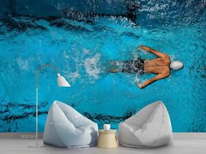3D Water Swimmer Self-adhesive Removeable Wallpaper Wall Mural Sticker 88