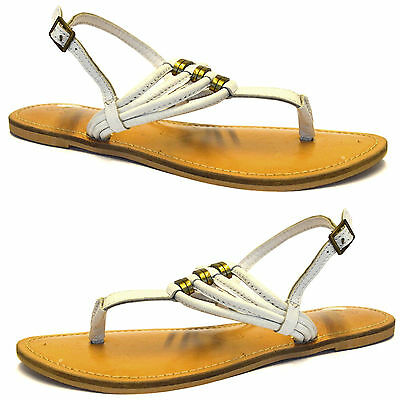 Womens Ladies Full Leather Flat Heel Toe Post T Bar Strappy Sandals Shoes Size