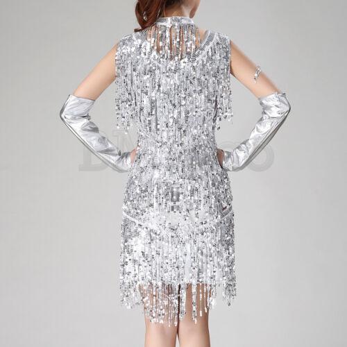 1920s Gatsby Womens Sequin Tassel Dress Ballroom Latin Salsa Samba Dance Outfits
