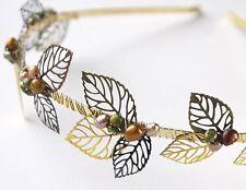 autumn leaves & pearls bridal tiara gold mixed metals wedding headband bronze