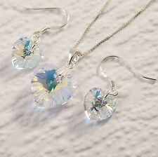 Sterling Silver Necklace SET Clear AB Love Heart Using Swarovski Element Crystal