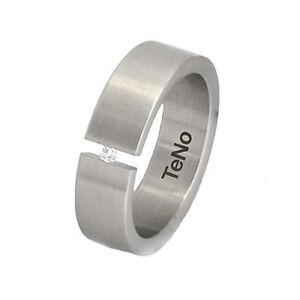 TeNo-YuNis-Ring-Gr-18-57-Spannring-Edelstahl-Diamant-0-04ct-Diamantring-Schmuck