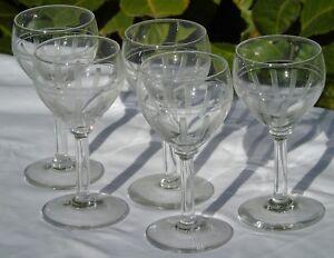 Val-Saint-Lambert-Lot-de-5-verres-a-vin-blanc-ou-vin-cuit-cristal-taille