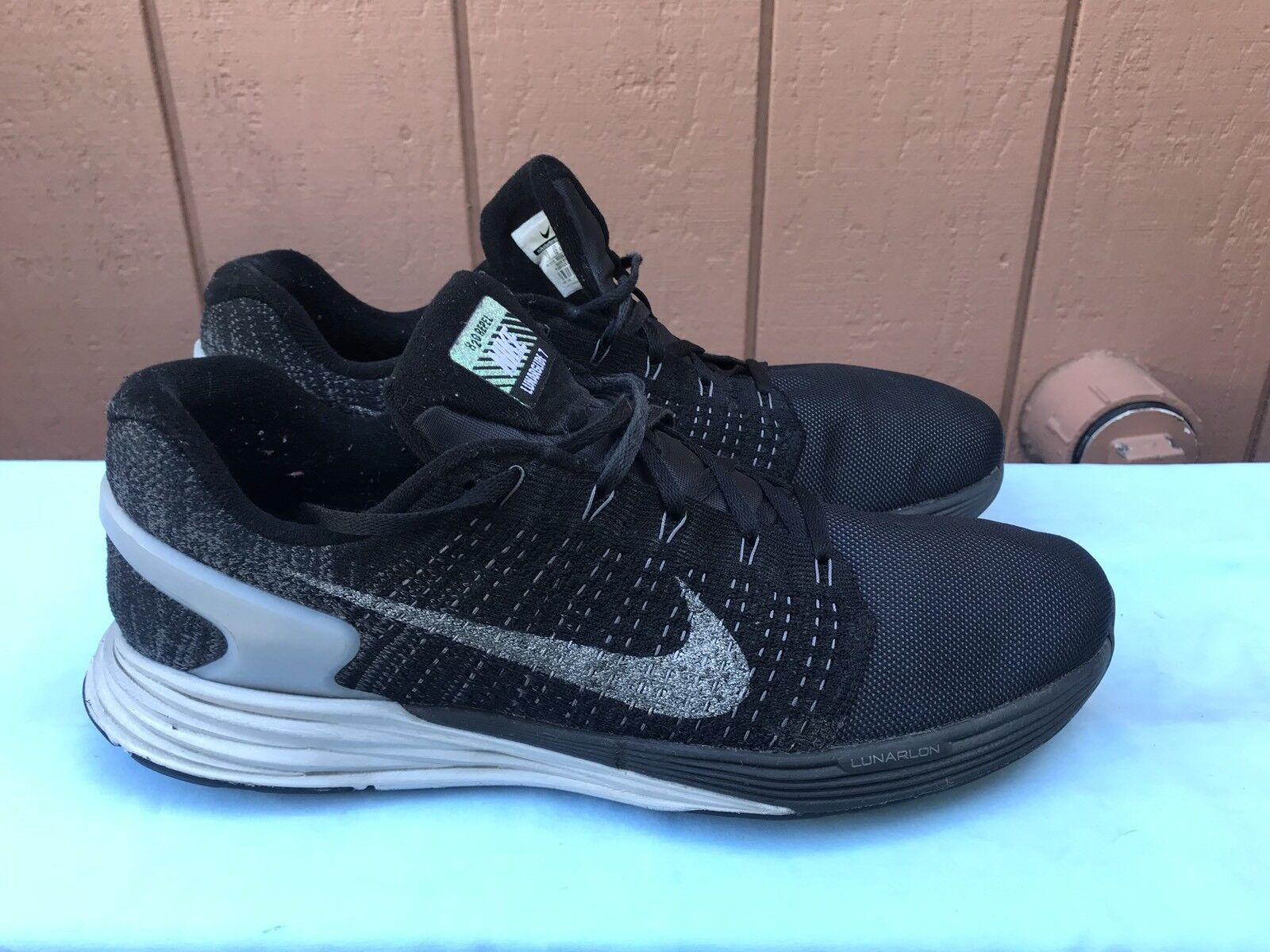 EUC Nike LUNARGIDE 7 FLASH BLACK 803566 001 Men's Size US 13 Running Shoes A6