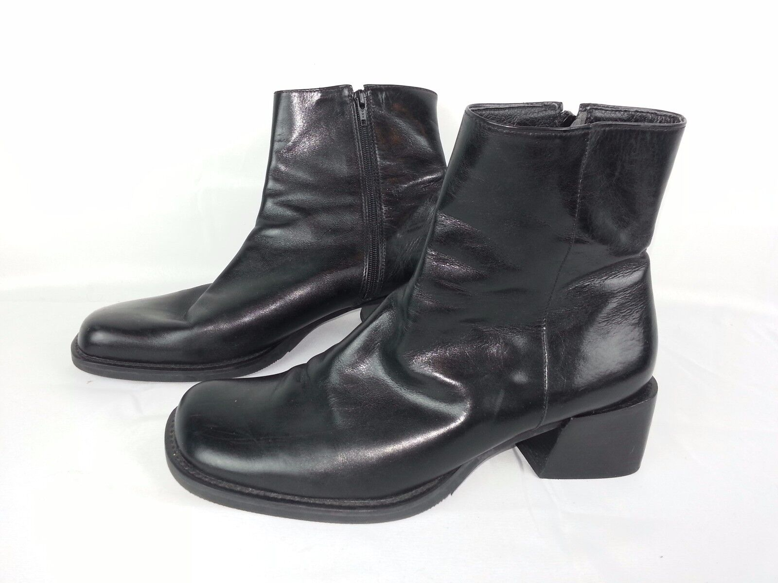ENZO ENZO ENZO ANGIOLINI CRISA BLACK LEATHER ANKLE ZIPPERED BOOTS SIZE 8.5 Made in Brazil 56c60c