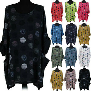 Women-Dot-Long-Sleeve-Loose-Tunic-Comfy-T-Shirt-Pocket-Casual-Blouse-Tops-CHEN