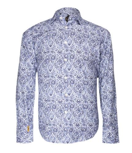 Billionaire Couture Men/'s Blue Paisley Patterned Cotton Shirt Paris Asain fit