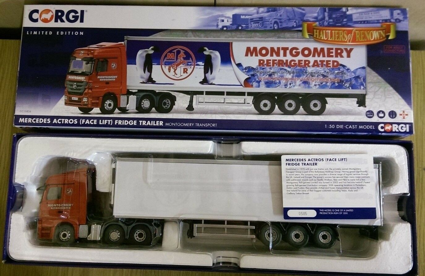 Corgi CC13826 MB Actros Facelift Fridge Trailer Montgomery Ltd Ed. 585 of 1300