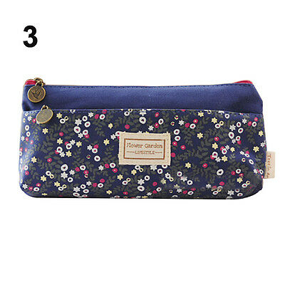 Flower Canvas Pencil Case Cosmetic Makeup Coin Pouch Zipper Bag Purse Morden