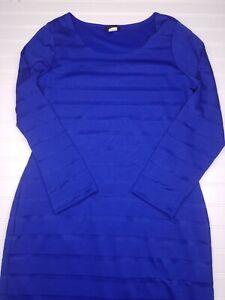 Venus-Blue-Striped-Bodycon-Dress-women-039-s-Size-Large-long-sleeve-knee-length-Y22