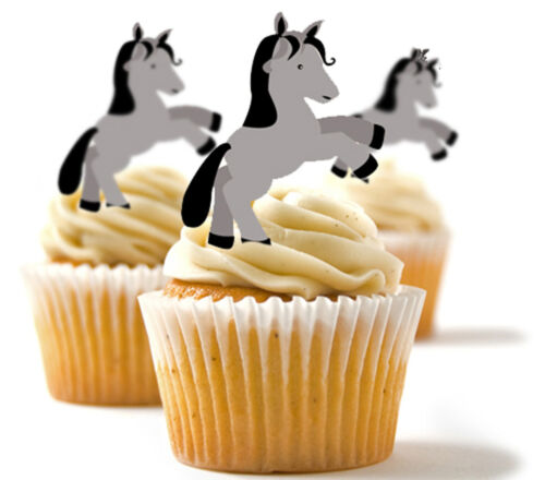 Dekorationen ✿ 24 Essbares Reispapier Tasse Tortenaufsatz Pferd Pony ✿