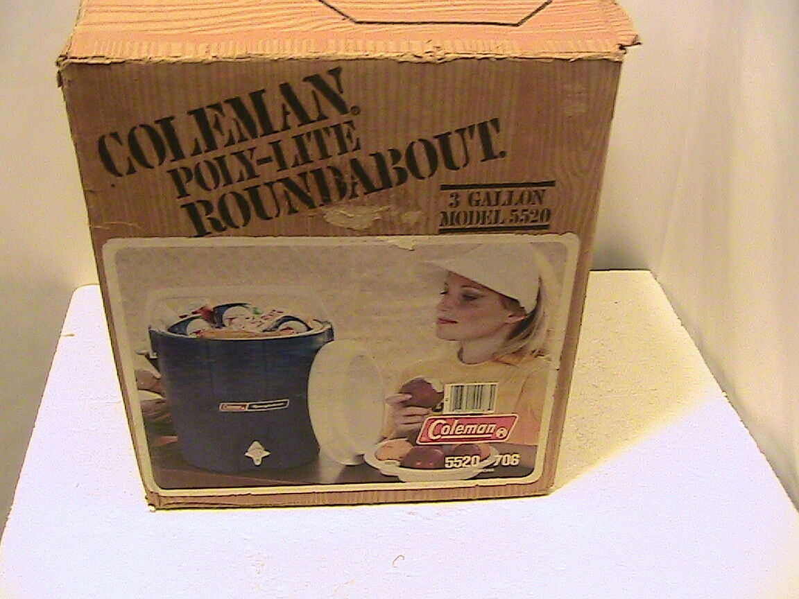 Vintage 1983 bluee Coleman Model 5520 - 706  3 Gallon Roundabout Cooler With Box  online fashion shopping