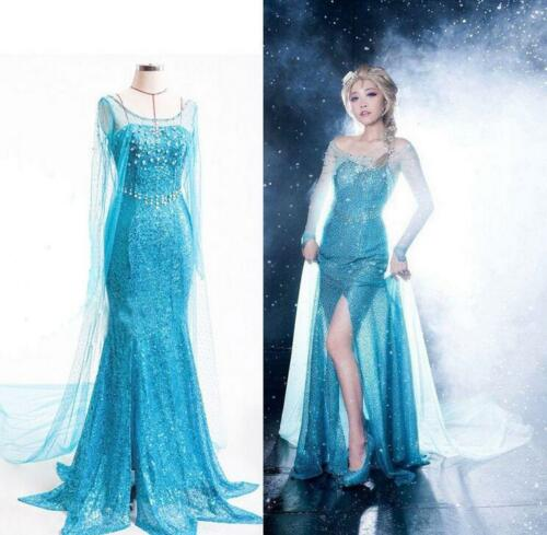 Blue Frozen Elsa Fancy Dress Party Costume adult all sizes Rhinestone UK 6-14 UK