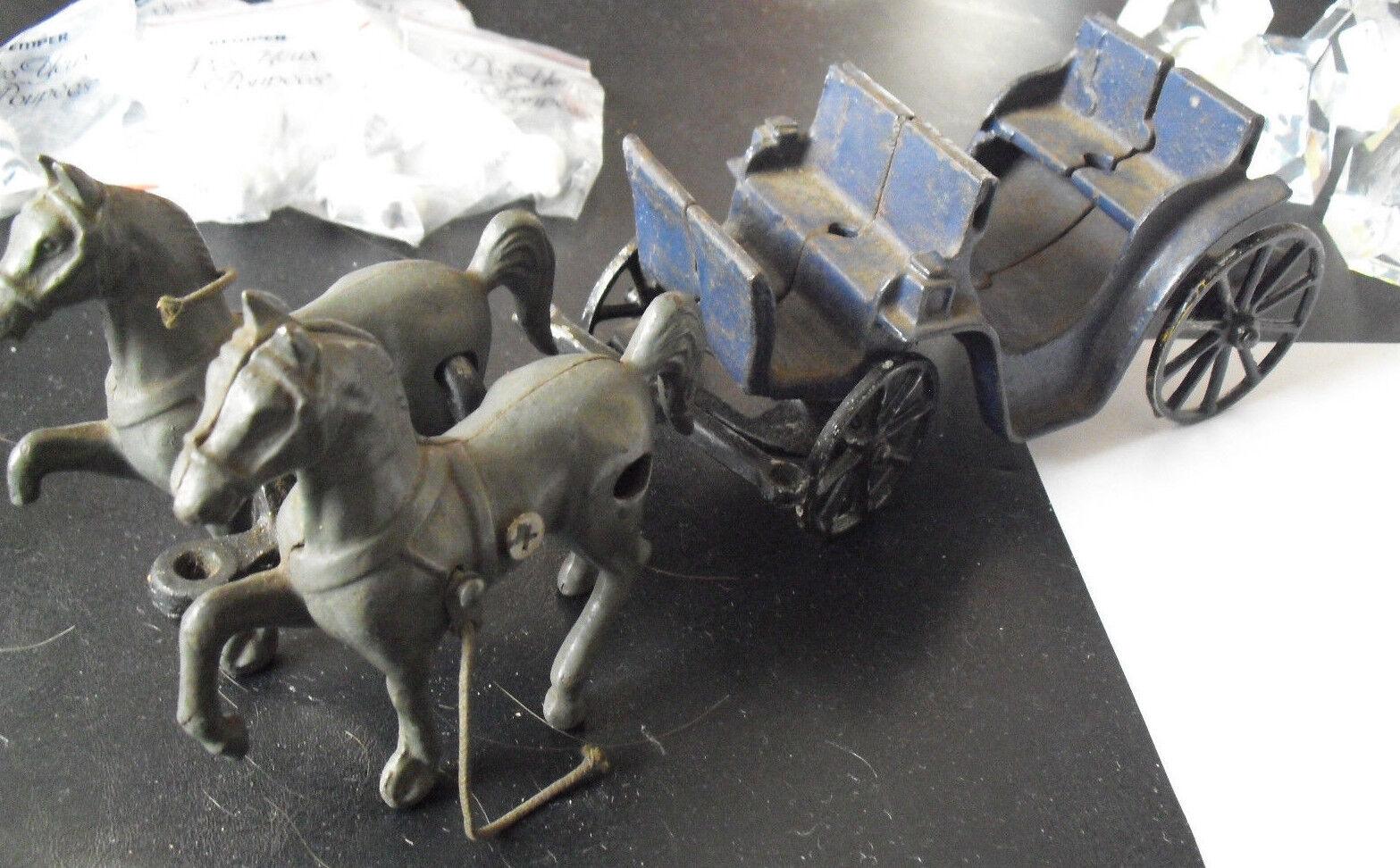 Hierro fundido antiguos dos caballos dibujado dibujado dibujado carro Stanley Juguetes 11 1 2  de largo  nueva marca