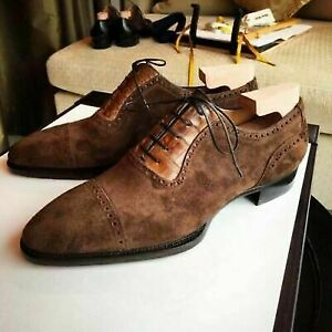 Handmade-Tan-Crocodile-amp-Brown-Suede-Leather-Lace-up-Shoes-for-Men