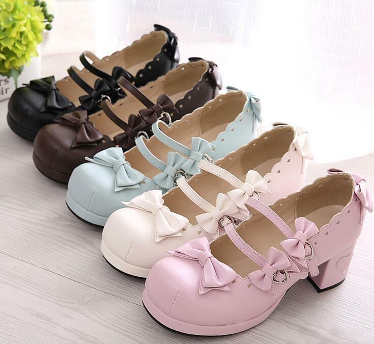 Cute Womens Mary Jane Bowknot lacework Ankle Star Buckle Lolita Pumps shoes