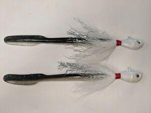 1-5-Ounce-2-each-Cobia-Striper-Eel-Jig-Spro-style-Head-with-felmlee-eel