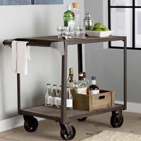 Industrial Design Serving Cart Metal Frame Wood Shelves Distressed Finish