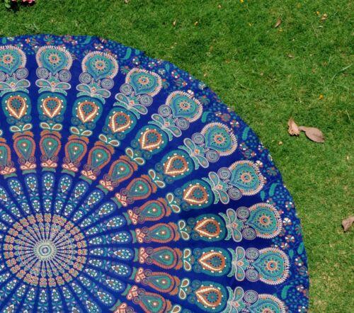 Indian Round Mandala Beach Throw Hippie Tapestry Yoga Mat Blue Bohemian Roundie