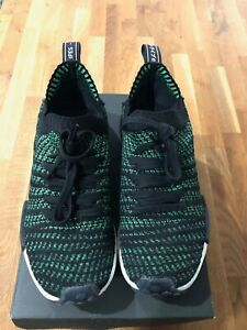 Adidas-NMD-R1-STLT-Primeknit-Shoes-Men-Size-9-5-Core-Black-Noble-Green-Bold