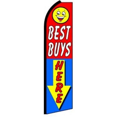 BEST BUYS HERE ARROW Swooper Half Curve Advertising PREMIUM WIDE Flag