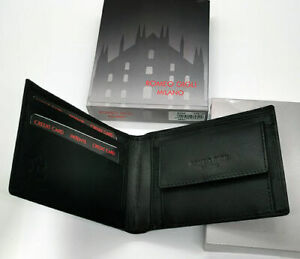 Romeo-Gigli-Milano-Men-039-s-Wallet-Black-Leather-Credit-Card-Holder-Coins