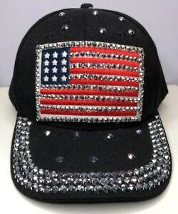 Image is loading American-Flag-Baseball-Cap-Blinged-Out-NWT b43da9c722c