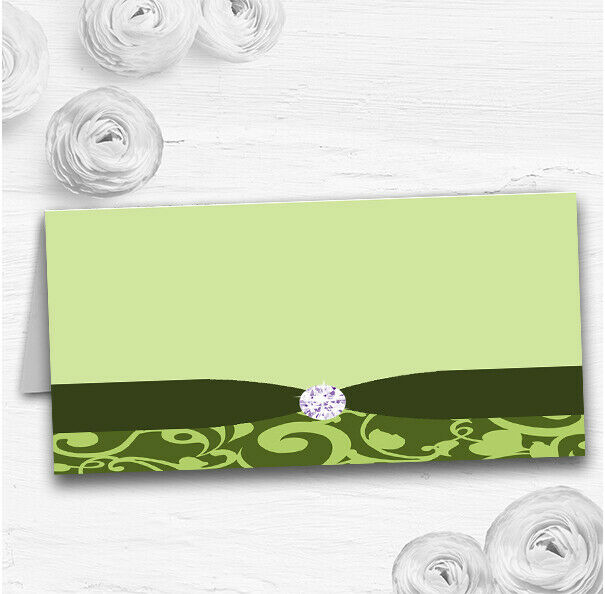 Olive Grün Vintage Floral Damask Diamante Wedding Table Name Place Cards