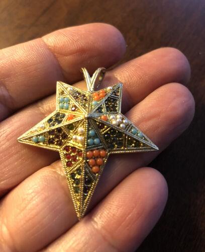 D'Orlan Gold Plated Star Pendant Sandstone & Swar… - image 1