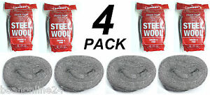 4 Packs x Steel Wool 100g Rolls - Fine - Grade 0