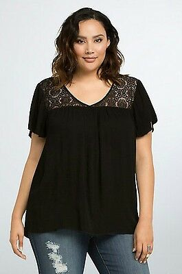 NWT TORRID Plus Size 5X Black Lace Inset Flutter Sleeve Top Blouse Boho (RRR53)