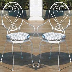 Coppia di sedie shabby-chic giardino in ferro battuto con cuscini ...
