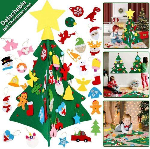Details about  /3D Felt Christmas Tree Set With Detachable Ornaments Easy Set up /& Store