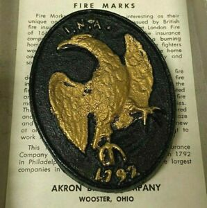 Vintage-Fire-Mark-I-N-A-1792-Painted-Cast-Metal-Replica