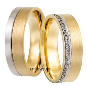 d050241aefa 10K WHITE and YELLOW GOLD HIS   HERS DIAMOND MATCHING WEDDING BANDS ...
