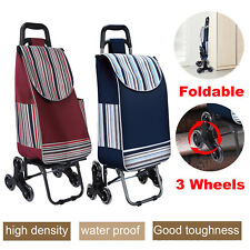 6 Wheels Stair Climbing Cart With Bag Folding Grocery Laundry Shopping Handcart