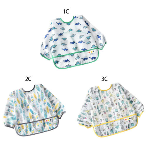 Newborn Baby Boys Girls Waterproof Long Sleeve Bibs Apron Dinner Feeding Smock