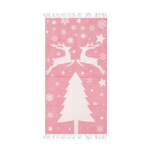 Pink-Snowflake-amp-Stars-Design-Beach-Towel-39-x-70-Large-Bath-Towel-by-Hencely