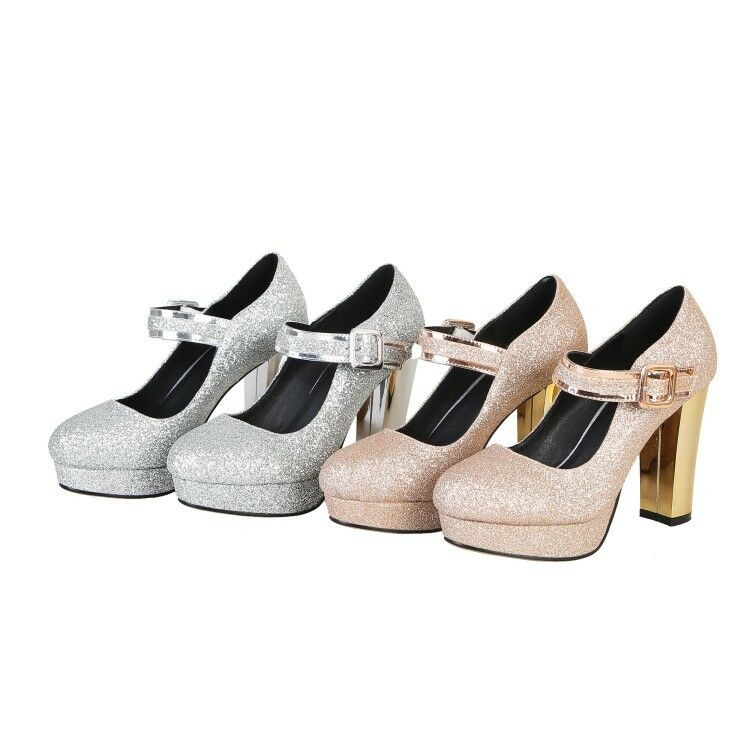Chaussures Femme 10 cm talons hauts chaussures brillantes Plateforme Bride Cheville Boucle Taille Plus D605