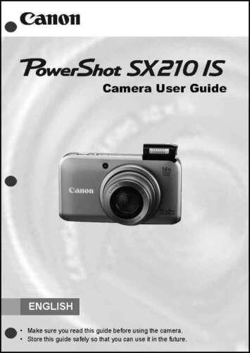 Canon Powershot SX210 IS Digital Camera User Instruction Guide  Manual