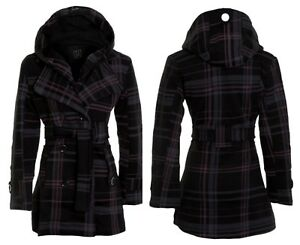 20-22-24-26-Ladies-Fleece-Jacket-Duffle-Style-Hooded-Toggle-Check-Pocket-Coat