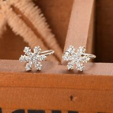 1 Pair Alloy Frozen Clip-on  Earrings Snowflake Pattern Pendant Ear Cuff Clip